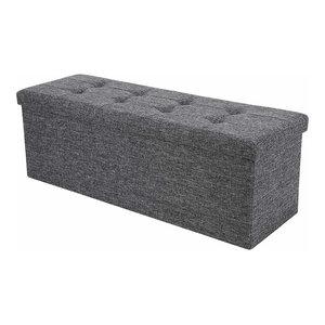 Large Folding Storage Ottoman Box, Dark Grey