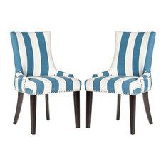 Safavieh   Safavieh Lester Dining Chairs, Set Of 2, Blue, White Stripe,