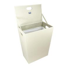 Large Faux Leather Laundry Basket, White