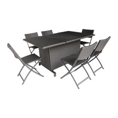 GDF Studio 7-Piece Zora Outdoor Foldable Wicker Dining Set, Multi Brown