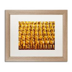 "Philippe Hugonnard 'Golden Buddhas' Art, Birch Frame, White Matte, 20""x16"""