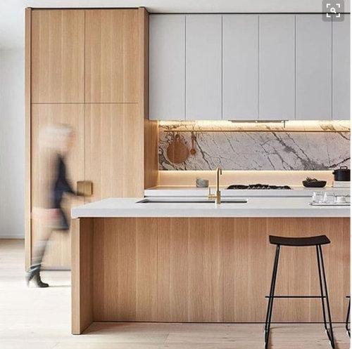 Natural Oak Kitchen Cabinets: 2 Pac White Or Polytec Ravine