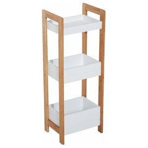 Contemporary Display Rack, MDF and Bamboo Wood With 3-Tier for Space Saving