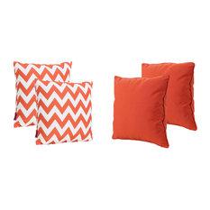 GDF Studio 4-Piece La Jolla Outdoor Striped Square Throw Pillows Set