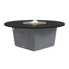 """Fire Pit Table 55""""D, Natural Gas, Black Pearl Granite Top, Gray"""