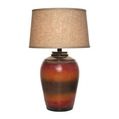 Tuscan Table Lamp With Shade, Red Orange