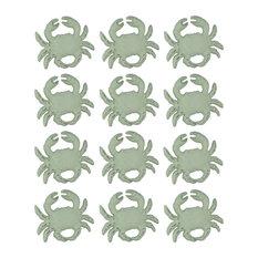 Distressed White Cast Iron Coastal Crab Drawer Pull Set of 12