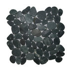 "12""x12"" Sliced Charcoal Black Pebble Tile"
