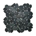 """12""""x12"""" Sliced Charcoal Black Pebble Tile"""