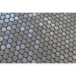 """Rocky Point Tile Co - Stainless Steel Penny Round Mosaic Tile, 12""""x12"""" - Make a bold statement in your kitchen with a stainless steel backsplash from Rocky Point Tile. Each tile is 3/4"""" in diameter. Use these tiles over an entire wall or as a poppy accent in your next renovation!"""