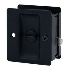 Stone Harbor Hardware   Square Privacy Pocket Lock Matte Black   Pocket  Door Hardware