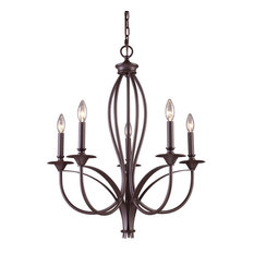 Medford 5-Light Chandelier, Oiled Bronze