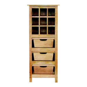 Natural Mango Wood 9 Bottle Wine Cabinet with 3 Basket Drawers