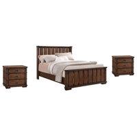 Rhiannon Vintage Oak Wood 3-Piece Bedroom Set, King