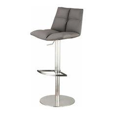 Roma Adjustable PU Bar Stool, Seat: Gray, Base: Brushed Stainless Steel
