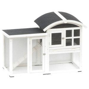 @Pet Rabbit Hutch Piazza, White and Black, 130x62x91 cm