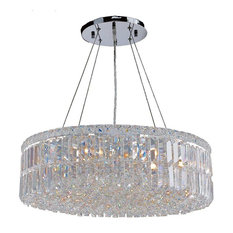 Cascade 12 Light Large Chandelier In Polished Chrome With Clear Crystal
