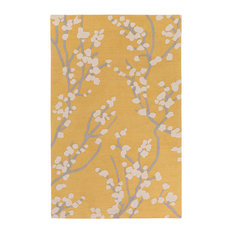Super Area Rugs Contemporary Yellow Gray Ivory Cherry Blosson Tree Branch Rug