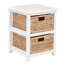 Seabrook Two-Tier Storage Unit With White and Natural Baskets
