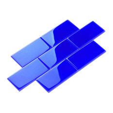"4""x12"" Glass Subway Collection, Cobalt Blue"