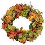 "Creative Displays & Designs - Harvest Wreath - 18"" Fall harvest wreath with green and gold hydrangeas, pears, orange berries, wheat, pinecones accented with green burlap ribbon a grapevine wreath"