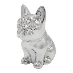 Sitting Frenchie Ceramic Statue, Metallic Silver