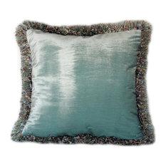 "Silk Velvet Decorative Throw Pillow With Fringe, 19""x19"""