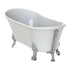 Felina Freestanding Clawfoot Bath, White, Chrome Feet