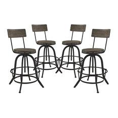 modway extra tall bar stools brown finish set of 4 bar stools