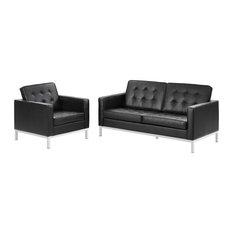 Black Loft 2 Piece Leather Loveseat And Armchair Set