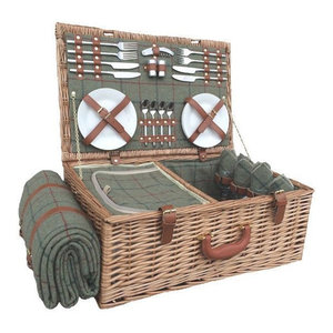 Green Tweed Fitted Picnic Basket, 4 Person