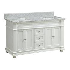 "60"" Italian Carrara Marble Top Kendall Bathroom Sink Vanity Cabinet"