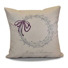 """Decorative Holiday Outdoor Pillow, Word Print, Gray, 16""""x16"""""""