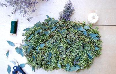 Fall DIY Project: Pumpkin-Shaped Eucalyptus Arrangement