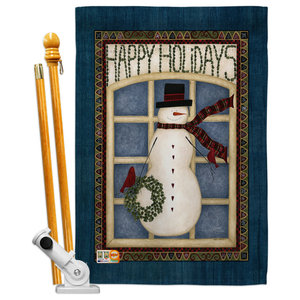 Happy Holidays Snowman Winter Seasonal Decorative House Flag 28 X40 Contemporary Flags And Flagpoles By Breeze Decor