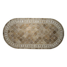 """Belair Chocolate Mosaic Stone Round Oval Dining Table, 42"""""""