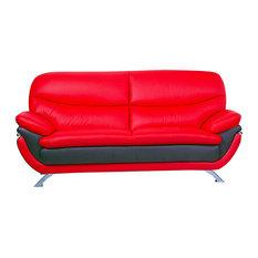 Jonus Leather Match Sofa, Red and Black