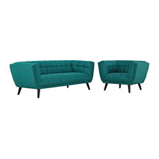 Teal Bestow 2 Piece Upholstered Fabric Sofa And Armchair Set