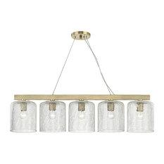 Charles 5-Light Island Light, Aged Brass Finish, Clear Crackel Glass Shade