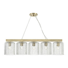 Charles 5-Light Island Light, Aged Brass Finish, Clear Crackel Glass Shade