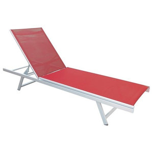 CorLiving Weather Resistant Coral Red Mesh Reclining Patio Lounger