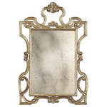 Decorative Crafts - Velarda Mirror - Carved wood mirror with antiqued silver leaf finish and antiqued glass