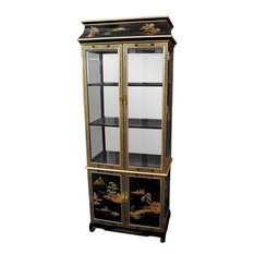 Oriental Furniture - Ming Pagoda Top Curio Cabinet w/ Hand Painted ...