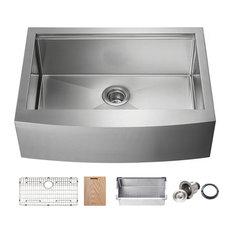 """KIBI Farmhouse Apron Single Bowl Stainless Steel Workstation Kitchen Sink, 30"""""""