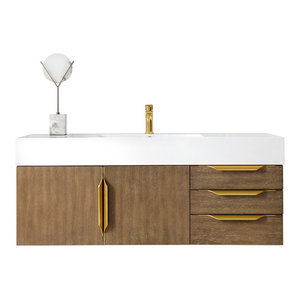 "Mercer Island 48"" Single Vanity Latte Oak Radiant Gold w White Solid Surface Top"