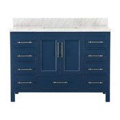 """Kendall Blue Bathroom Vanity, 48"""", Vanity With Top"""