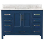"""MOD - Kendall Blue Bathroom Vanity, 48"""" - The 48-inch Kendall Vanity boasts a clean silhouette with straight legs, a rectangular basin and brass bar handles. The deep blue finish is complemented by a stunning Carrara marble counter that features a unique pattern of veins and variations in color, due to the nature of natural stone. The vanity has one large cabinet for storing toiletries or towels and nine drawers for extra storage space. Playing with line and form, MOD creates sleek home furnishings that push the boundaries of contemporary design. Each individual piece is crafted from the finest materials for uncompromising quality and longevity."""