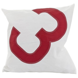 Recycled Sail Small Cushion, White and Red