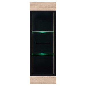 Modern Tall Cabinet, MDF, Wall Mounted Sistem, Glass Door and LED Lights, Oak