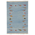 """Kilim Studio - Light Blue New Handwoven Turkish Kilim Rug 49""""x72"""" - Beautifully transform your living space with our hand woven, authentic and timeless new kilim rugs that carry with them many of the traditional elements that made true vintage Turkish Kilim rugs so precious. Each kilim is skillfully hand woven in Turkey to create a beautiful piece of art. We use vegetable dyed and hand spun wool to make sure they age gracefully.This fine blue rug measures 4' 1"""" x 6' (49 in. x 72 in.). We can customize it by adding your monogram or removing the fringes upon request. If you like the design of this rug, but need it in a different size or colors, we can custom make it to meet your requirements. Liven up a monochromatic room with bold colors; have one made in sweet pastels for an exquisite bedroom detail.For additional information about kilims, their origins, motifs, cleaning, hanging, dyeing and more, please check out our wiki."""